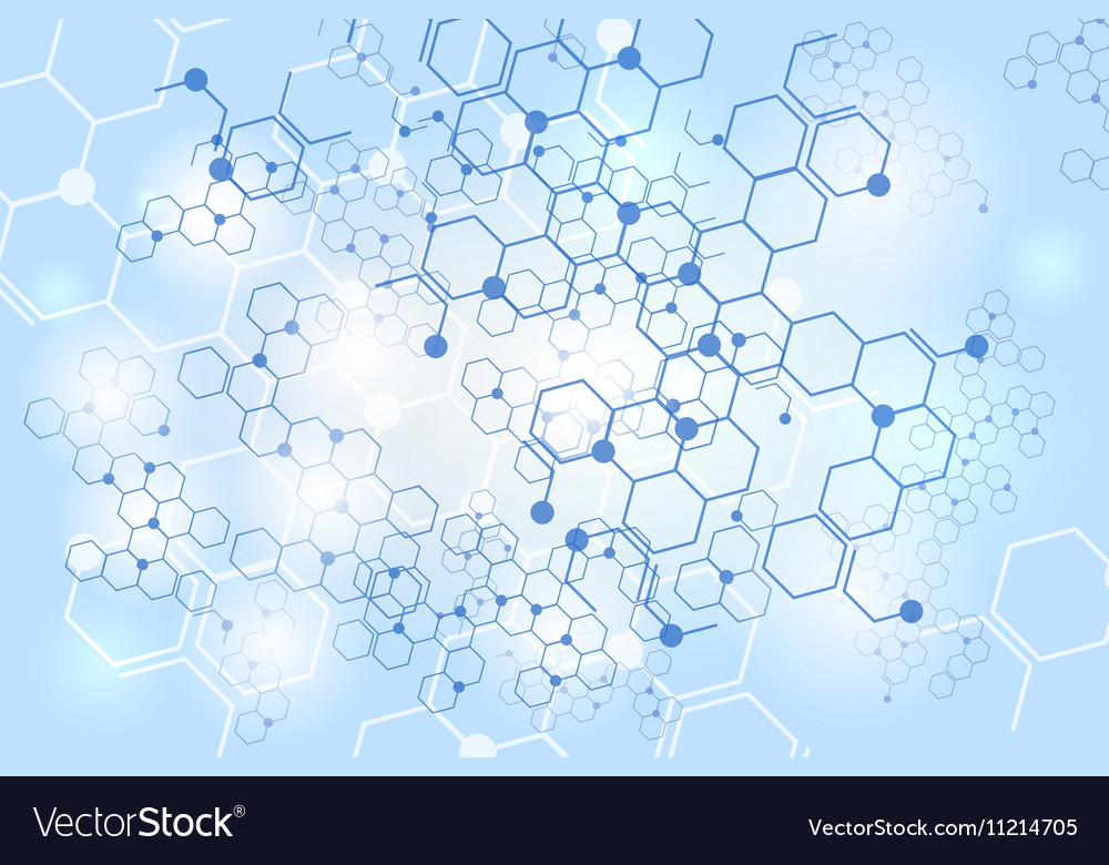 Molecular gene structure blue background vector image