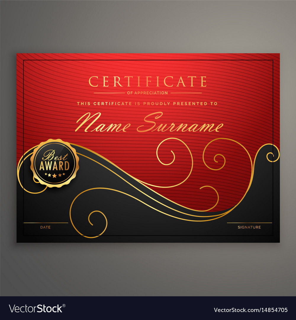 Red and black luxury certificate design template vector image