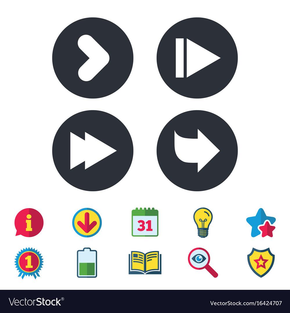 Arrow icons next navigation signs symbols vector image buycottarizona Choice Image