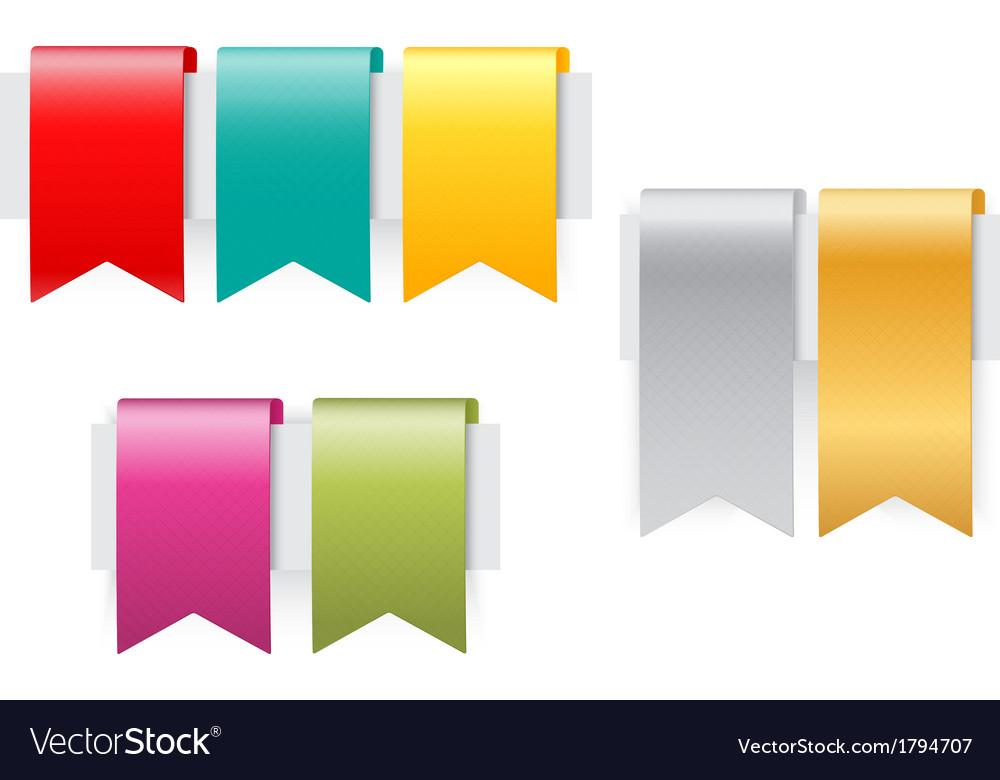 Ribbon set on white background vector image