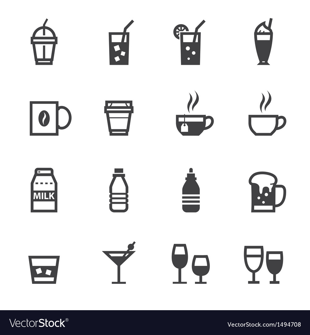 Drink icons and Beverages icons vector image