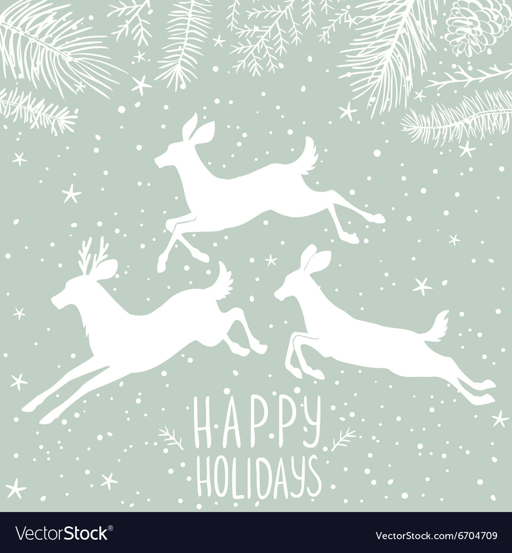 Deer white holiday vector image