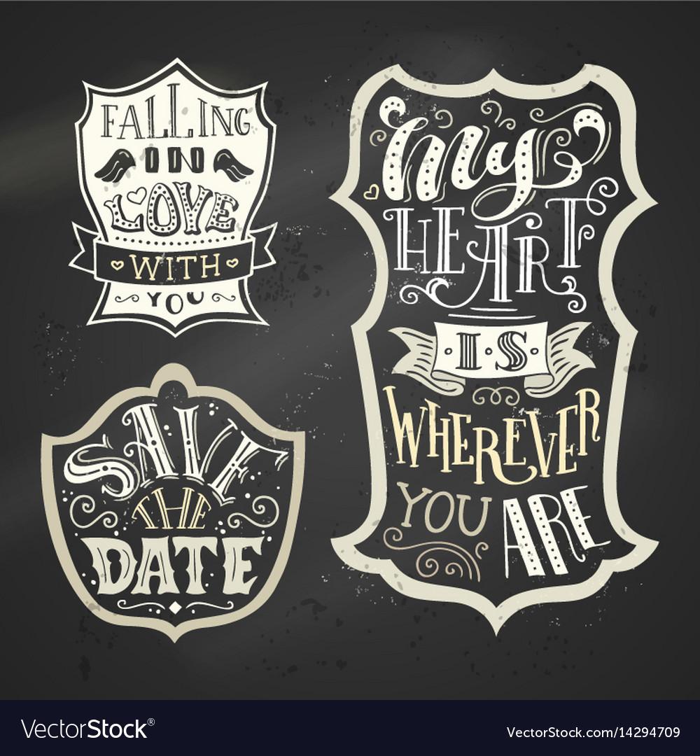 Set of chalk love badges on blackboard background vector image