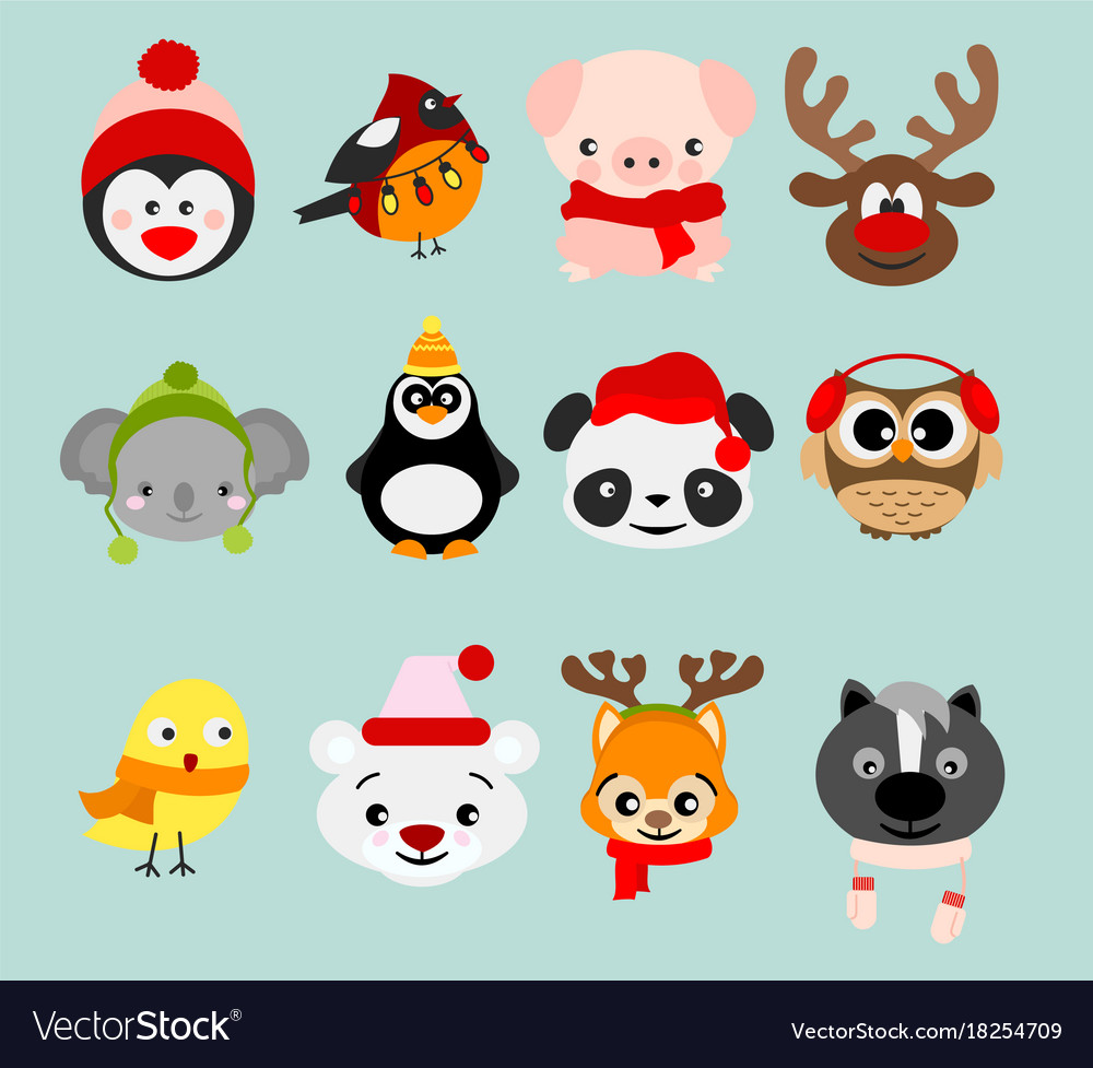 Set of winter cute animals in vector image