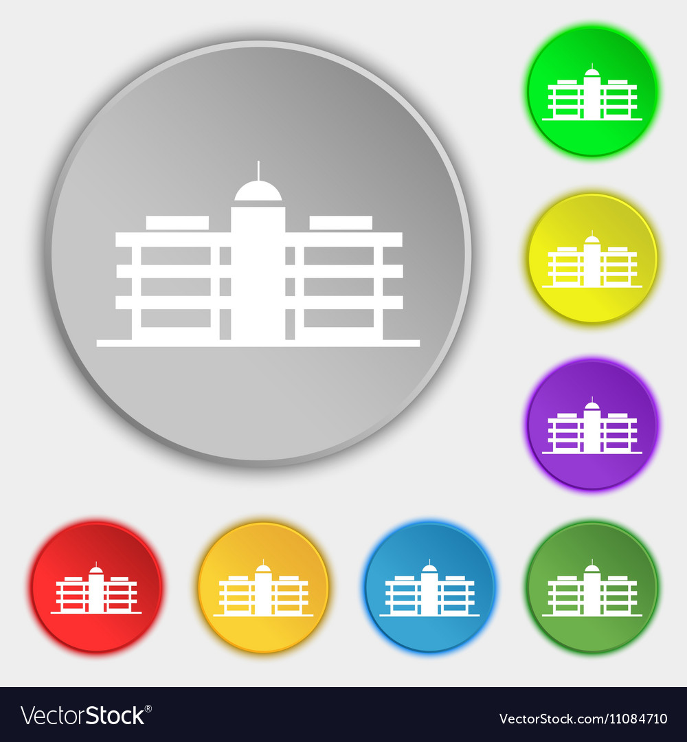 Business center icon sign Symbol on eight flat vector image
