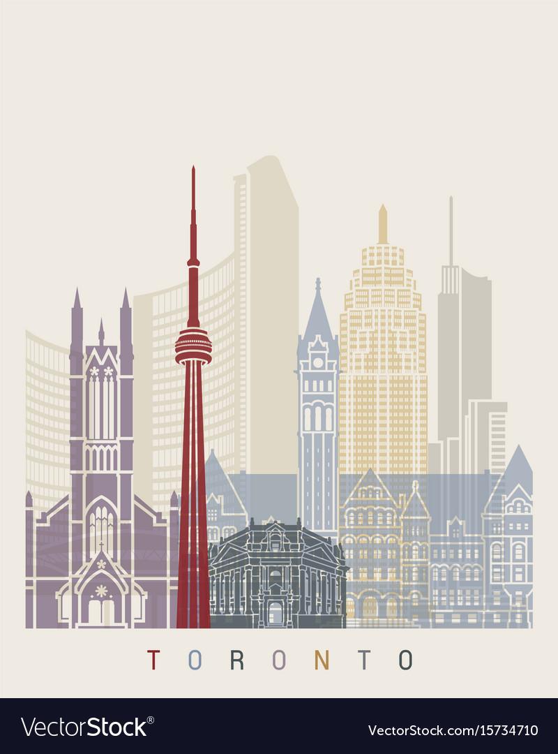 Toronto skyline poster vector image