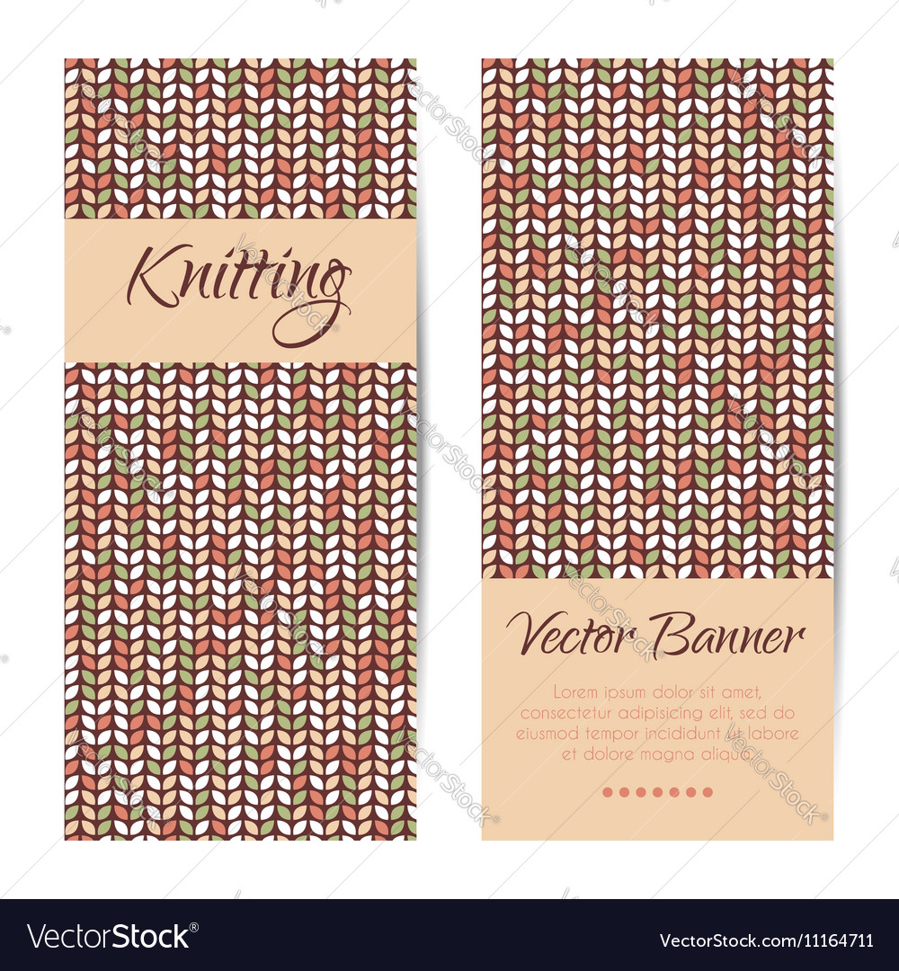 Banners brochures set Knitting pattern vector image