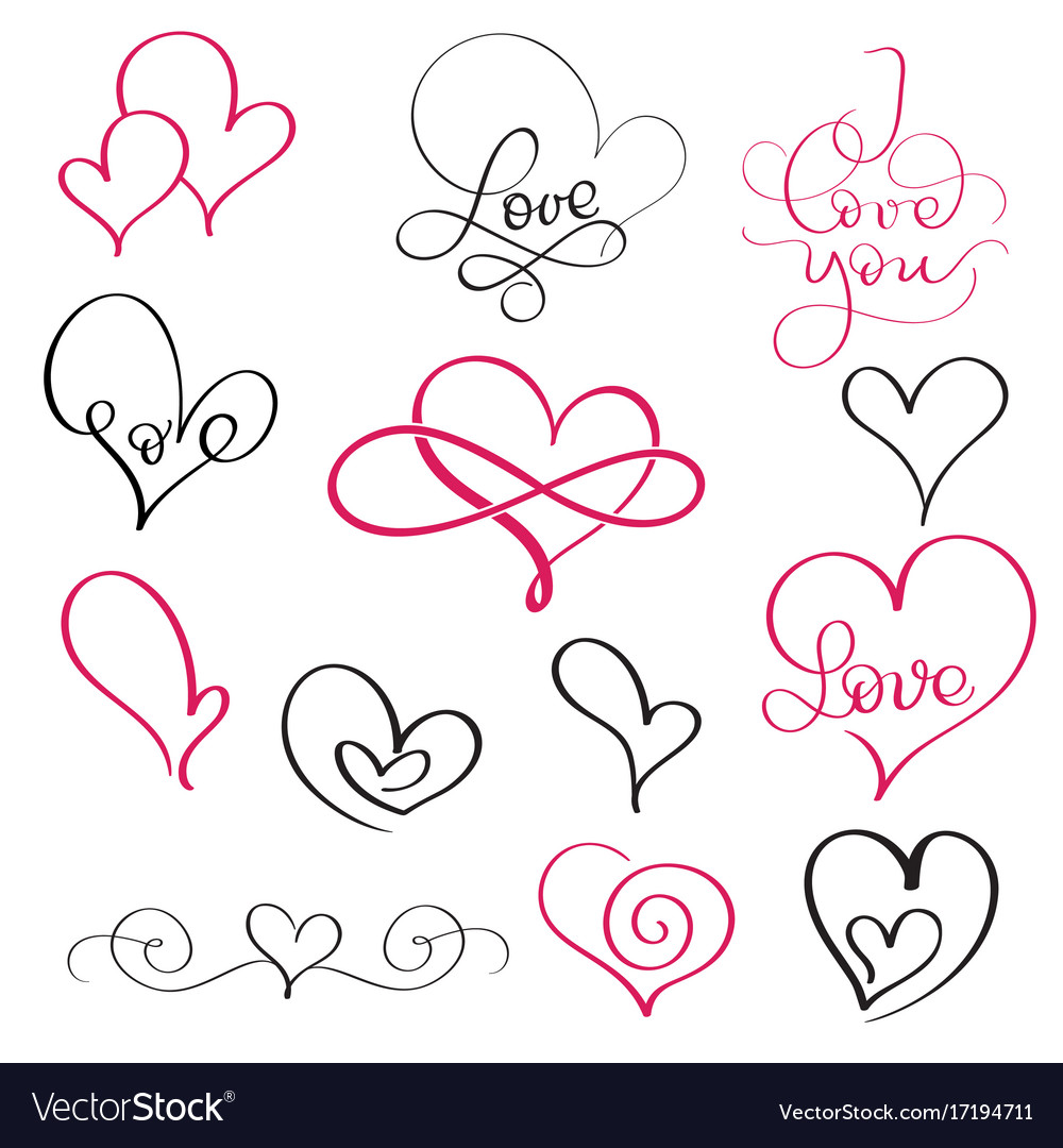 Set of flourish calligraphy vintage hearts and vector image