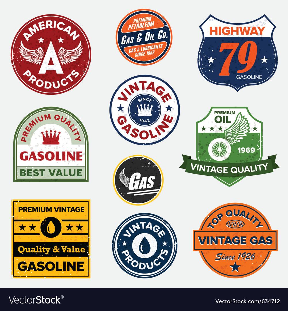Vintage gasoline signs vector image