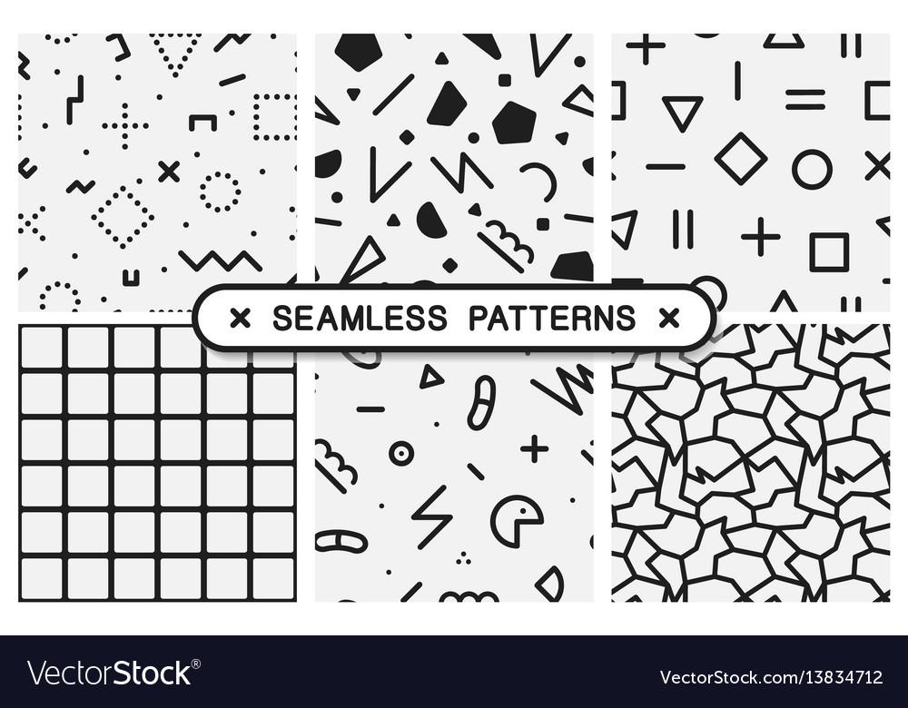 Seamless patterns set - memphis design vector image