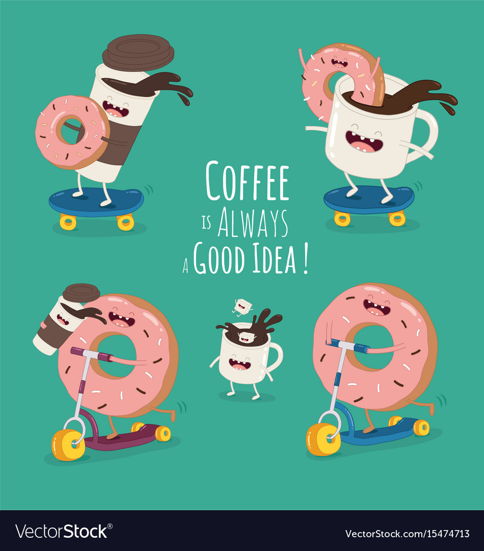 Cartoon comic coffee cup and donut take coffee vector image