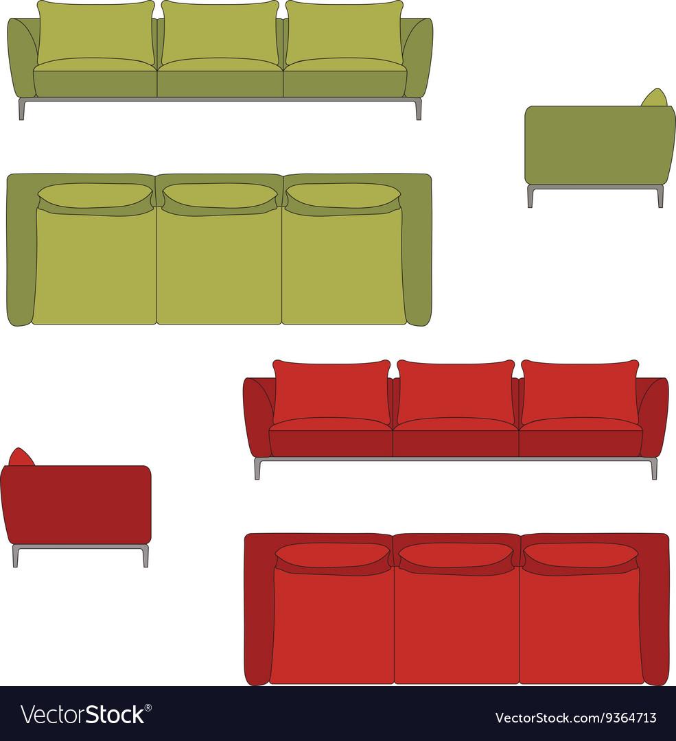 Sofa Set Flat vector image