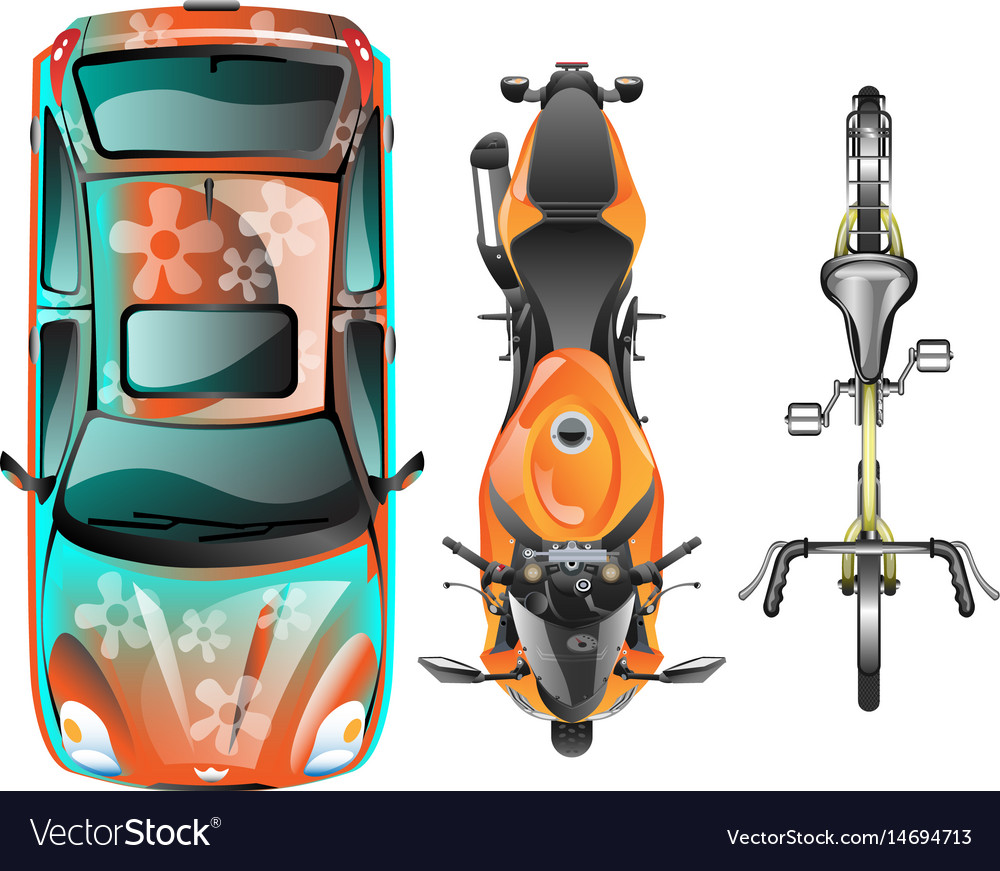 Top view of different transportation vector image