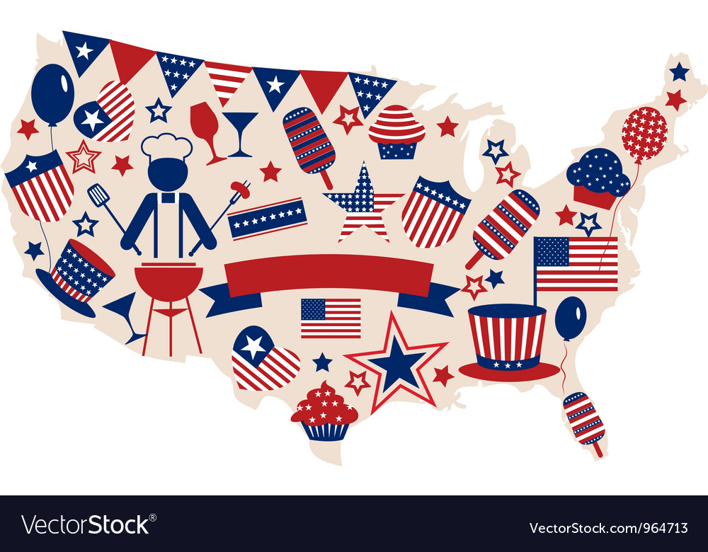 USA icons for american independence day vector image