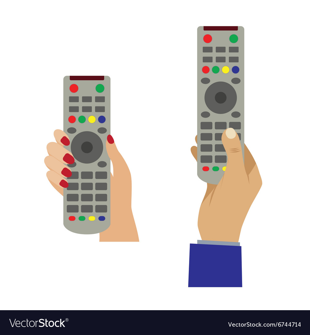Hand with a remote control vector image