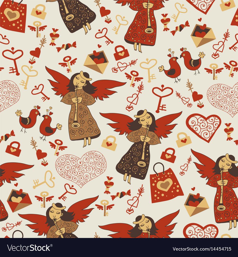 Valentine wallpaper wiht cute angels vector image