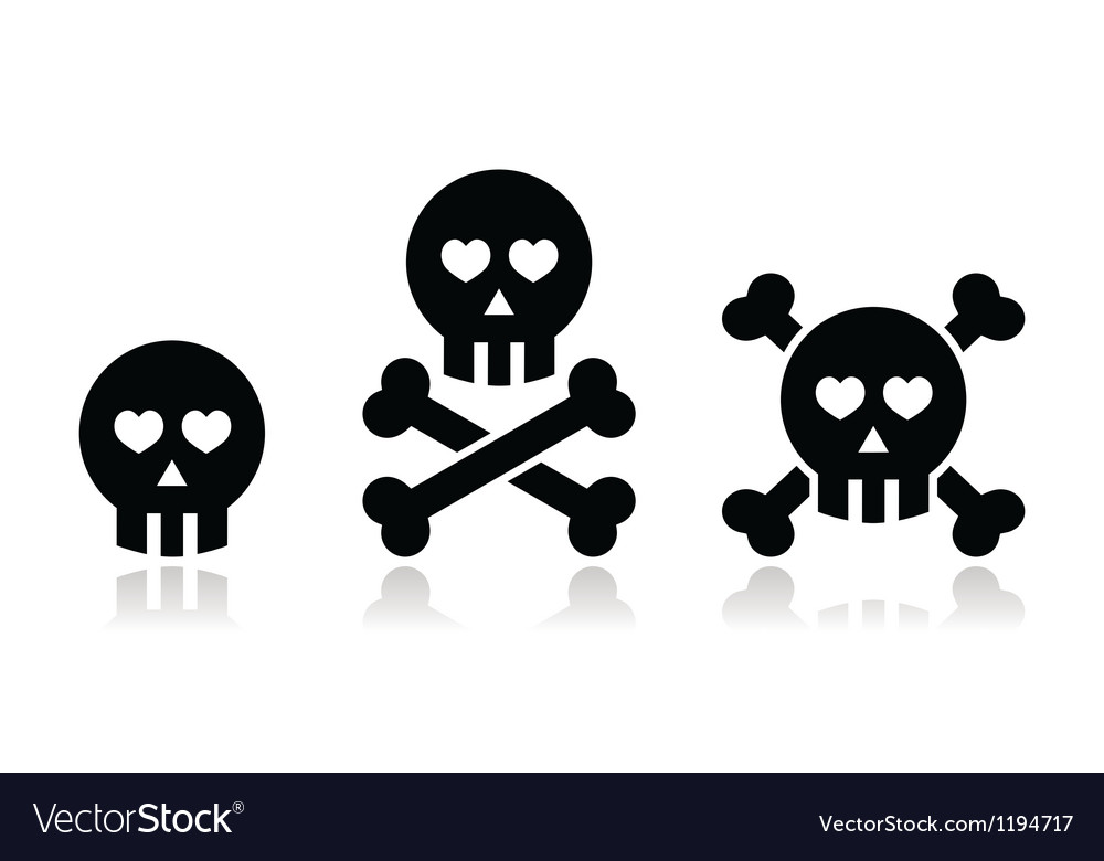 Cartoon skull with bones and hearts icon vector image