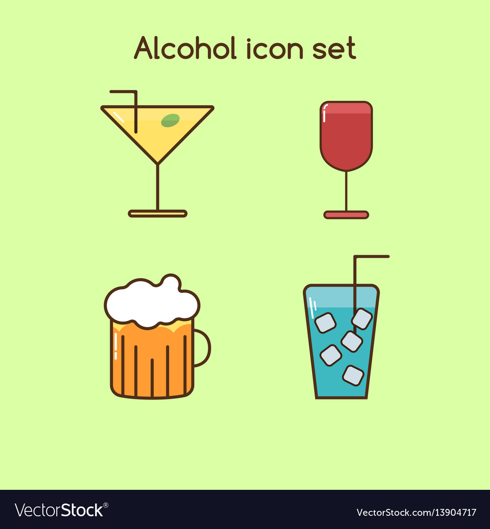 Alcohol drinks icon set vintage set vector image
