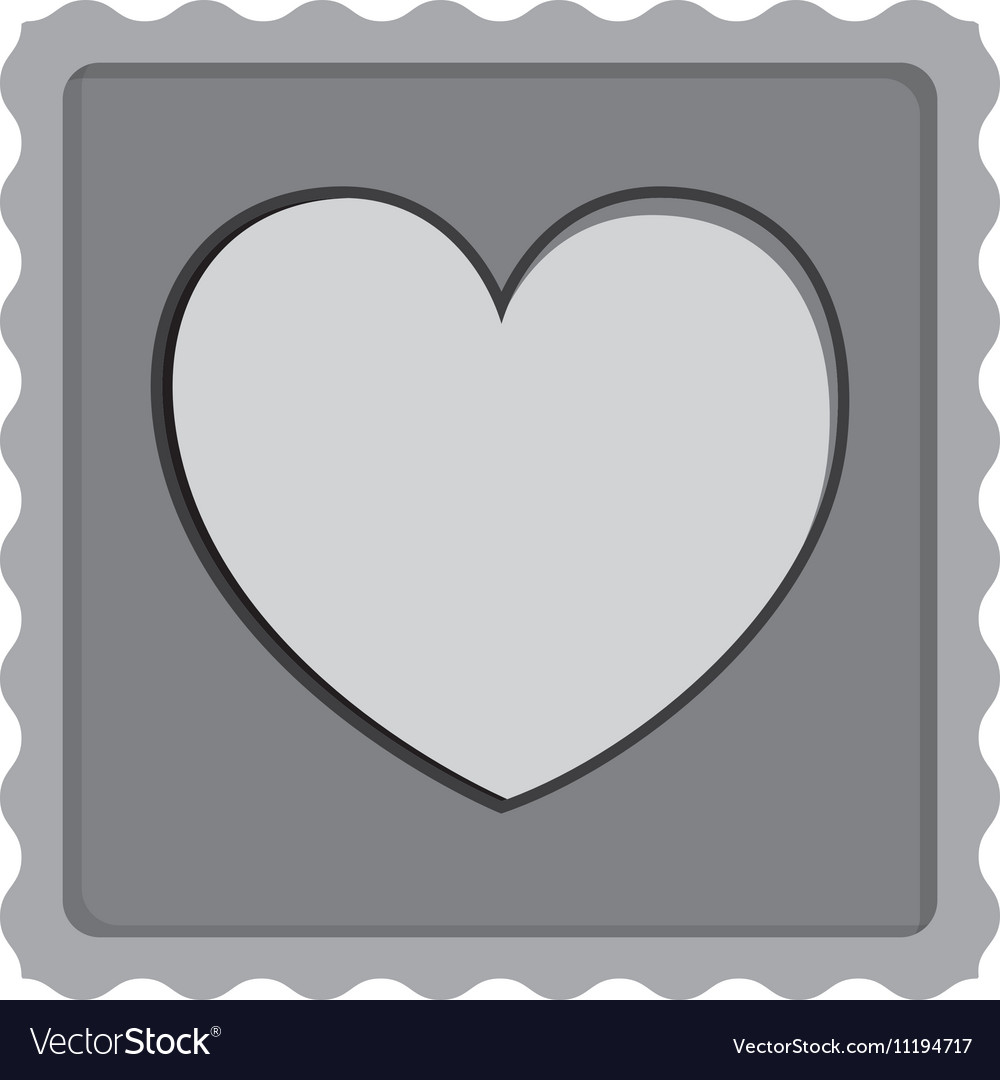 Post stamp with heart shape icon vector image