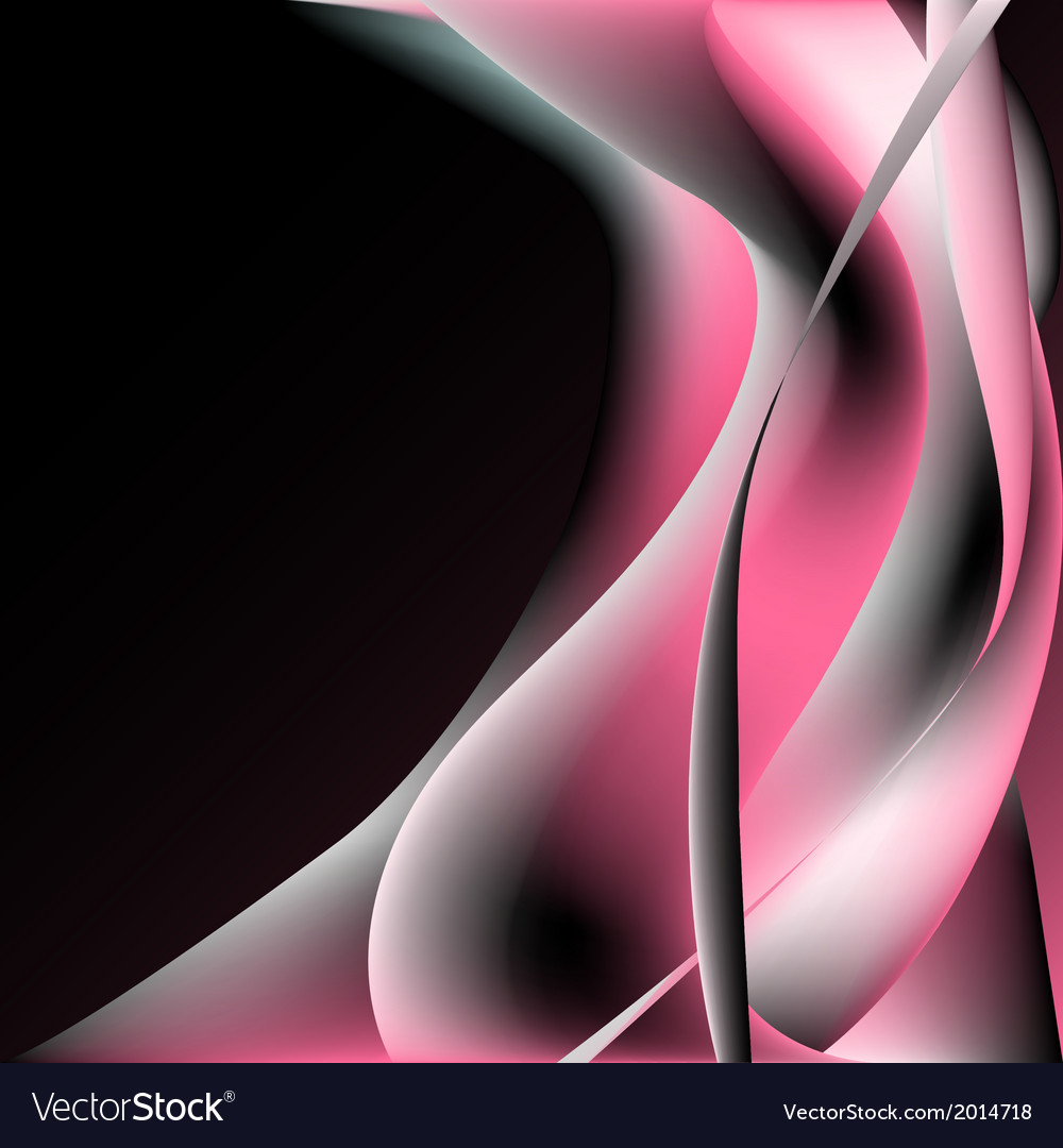 Abstract pink black glowing wave vector image