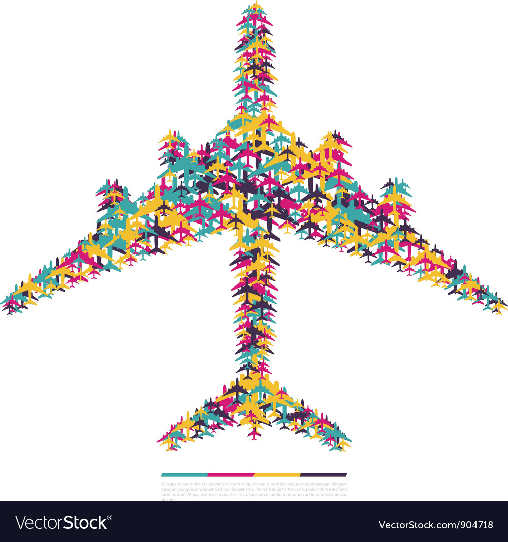 Airplane consisting of airplanes vector image