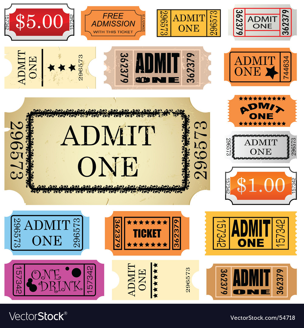 Ticket admit one vector image