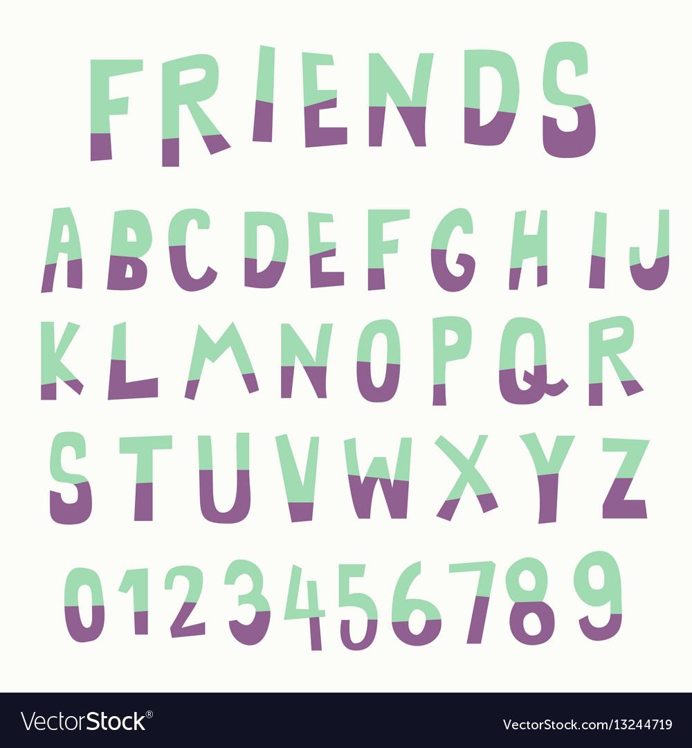 Two tone color doodle font vector image