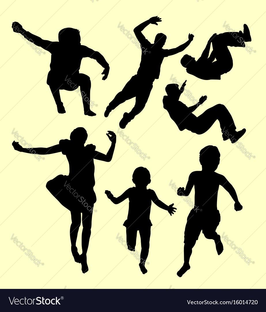 Children training sport silhouette vector image