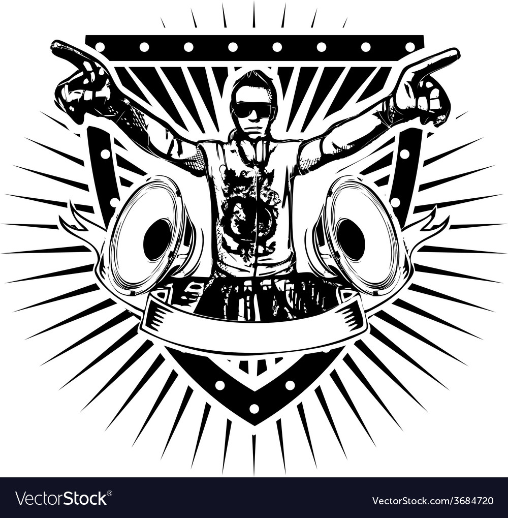 Disc jockey shield vector image