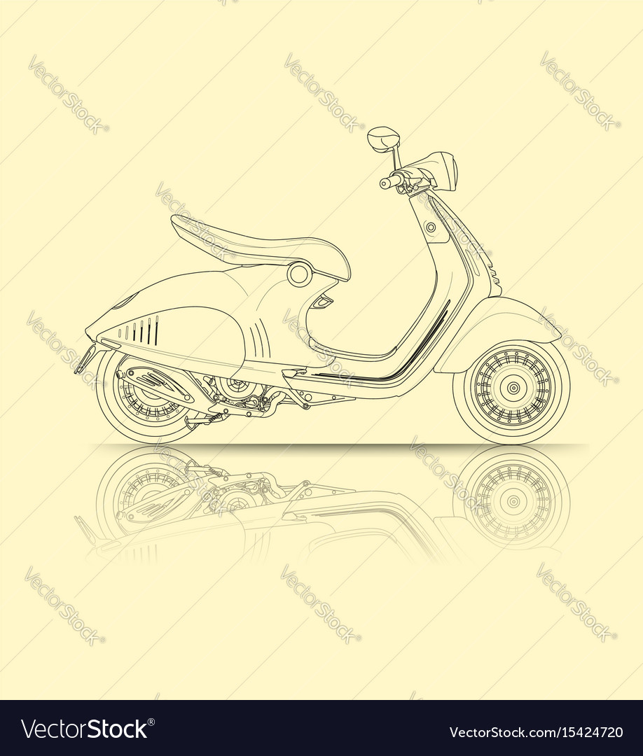 Scooter outline vector image