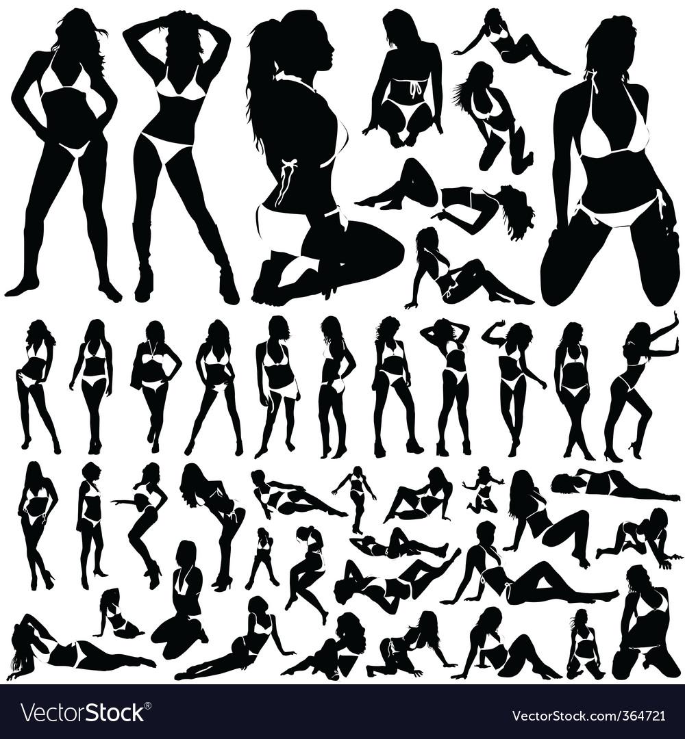 Collection of women in bikini vector image