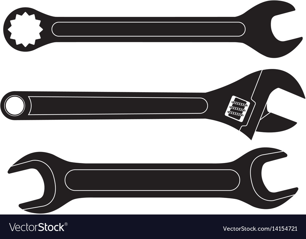 Set of wrenches black flat icons vector image
