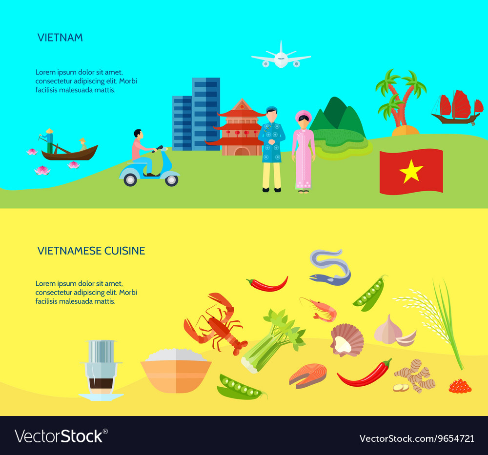 Vietnamese Culture 2 Horizontal Flat Banners vector image