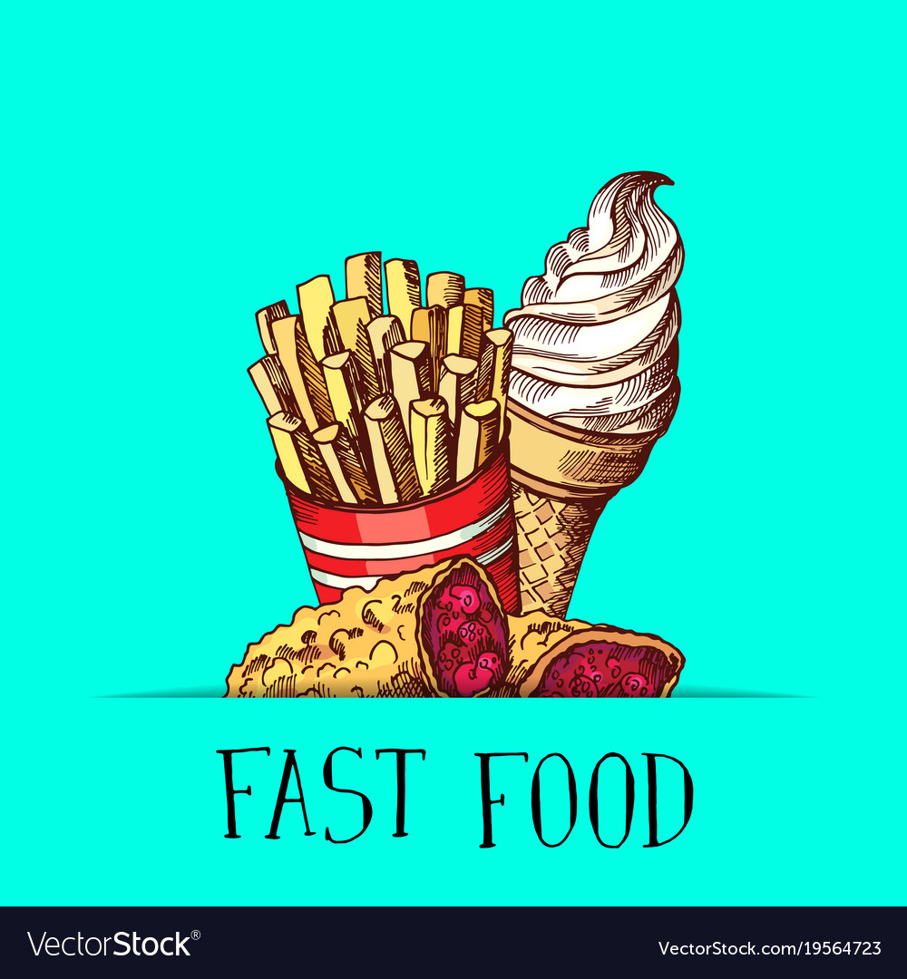 Hand drawn colored fast food ice cream pie vector image