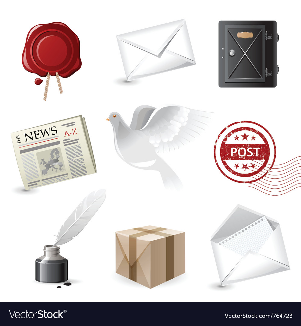 Highly detailed post icons set vector image