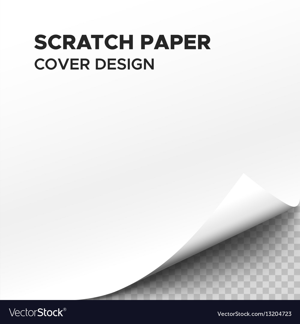 White scratch paper sheet with curl on corner vector image