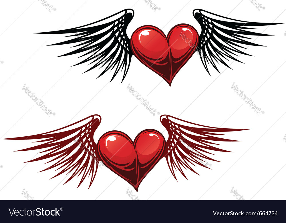 Retro heart with wings vector image