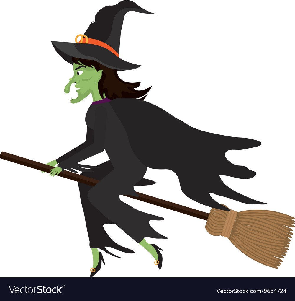 witch flying with broomstick cartoon royalty free vector