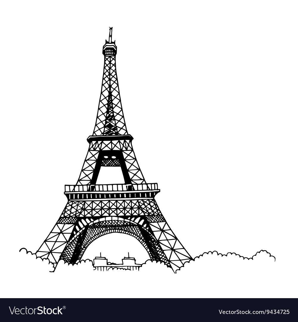 hand drawn eiffel tower royalty free vector image