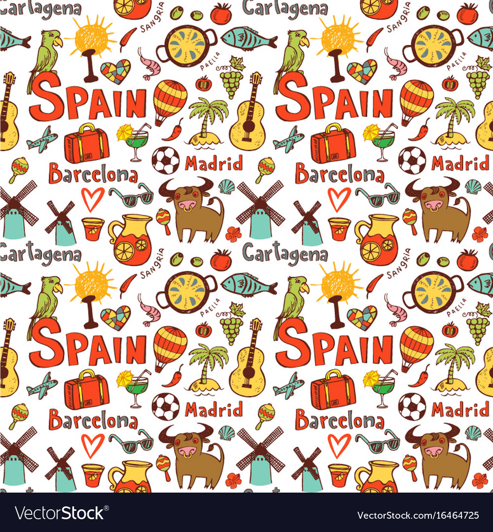 Seamless background with symbols of spain vector image seamless background with symbols of spain vector image buycottarizona Images
