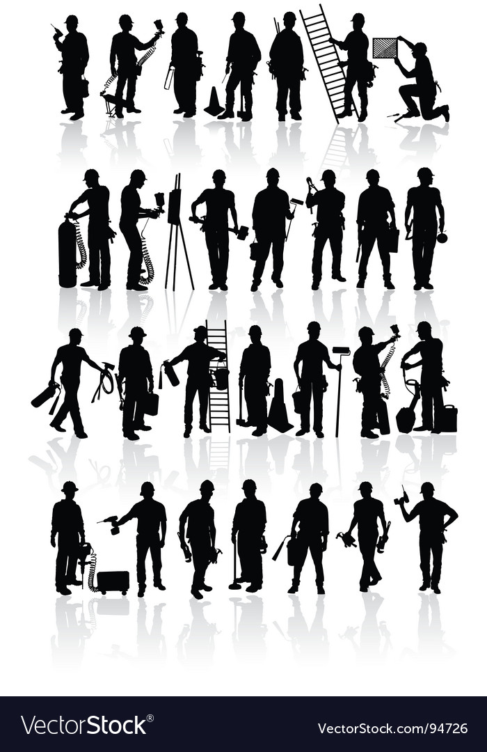 Construction workers silhouettes vector image