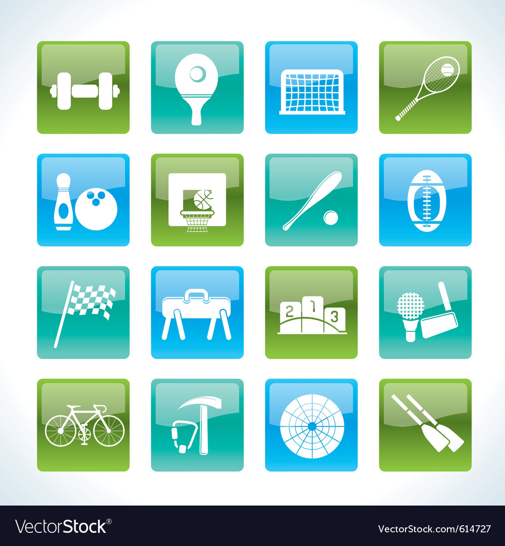 Sports gear and tools icons vector image