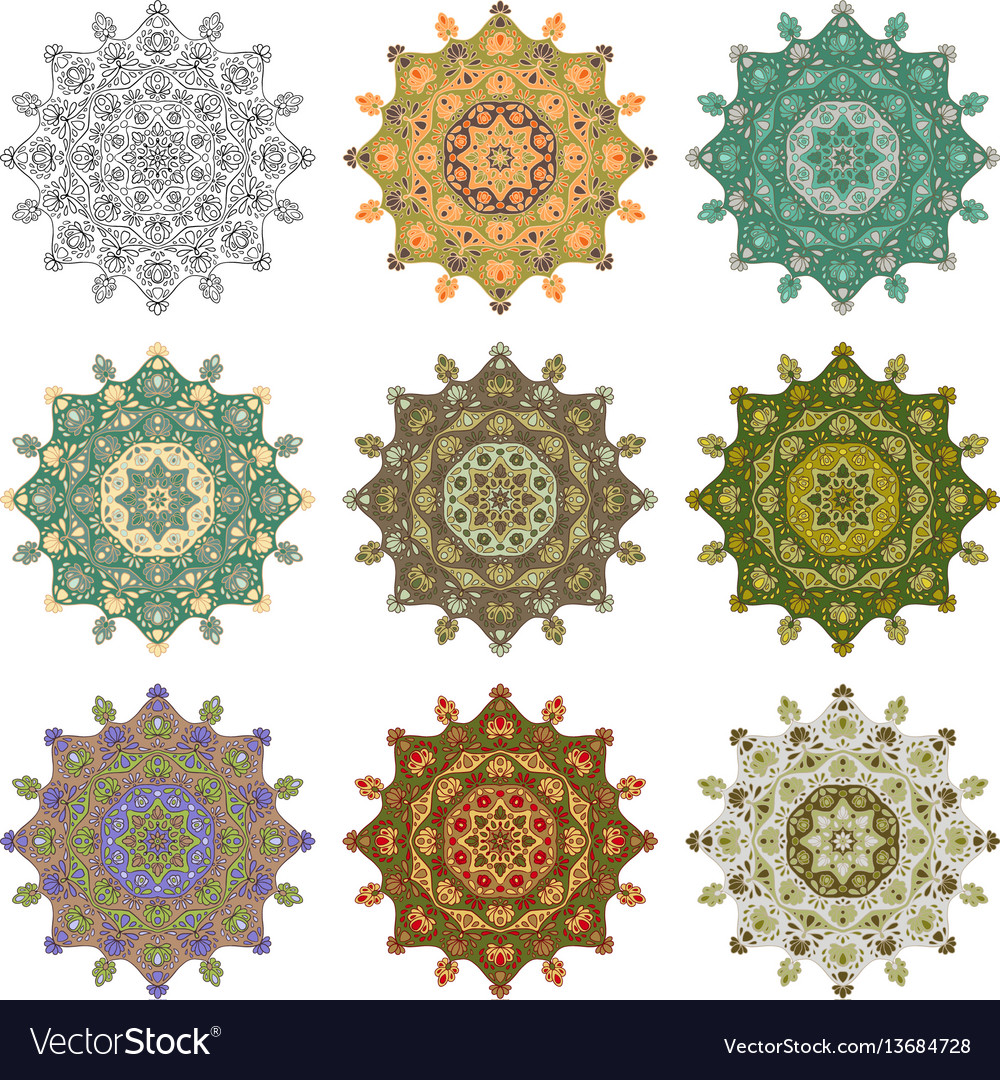 Set mandala different color 44 vector image
