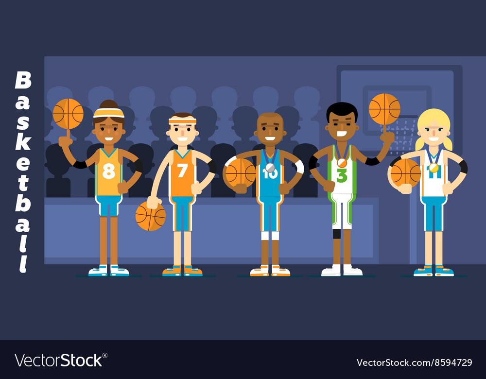 Basketball Team on the podium awarding vector image