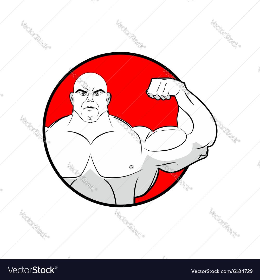 Bodybuilder with big muscles Emblem gym Logo for vector image