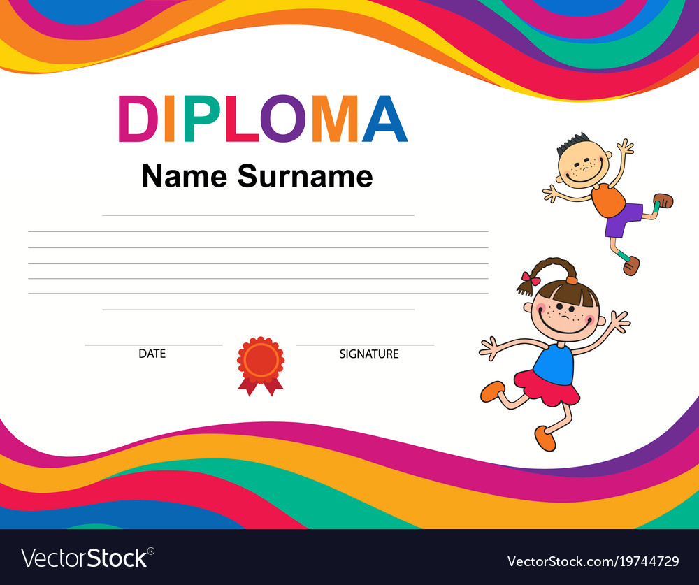 Kids diploma certificate background design vector image kids diploma certificate background design vector image yadclub Images