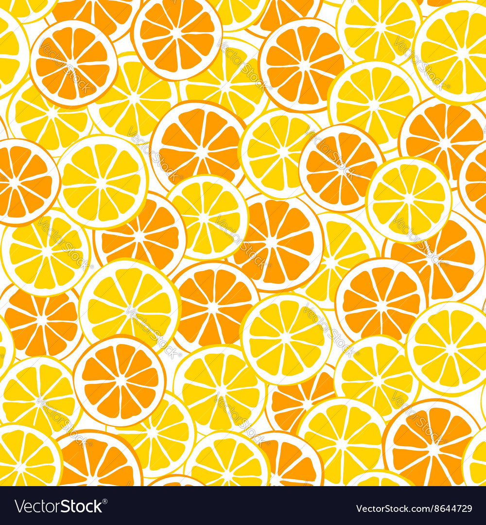 Lemons and oranges slices seamless pattern vector image