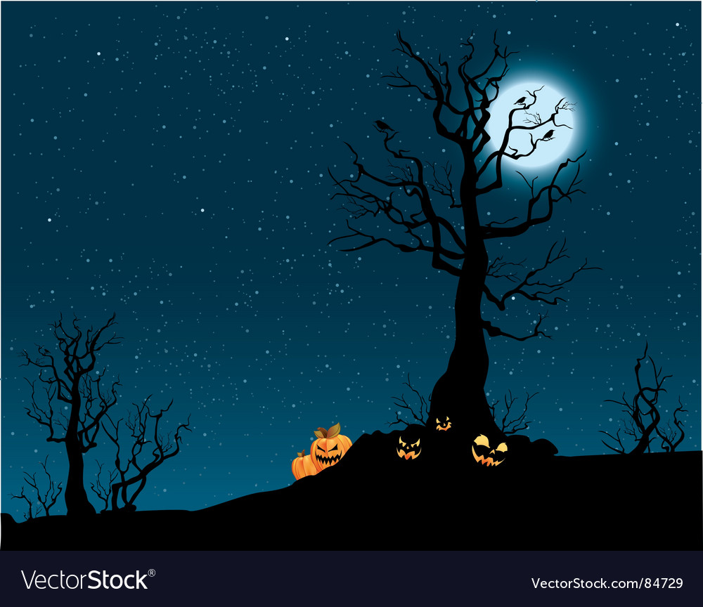 Spooky pumpkin patch vector image