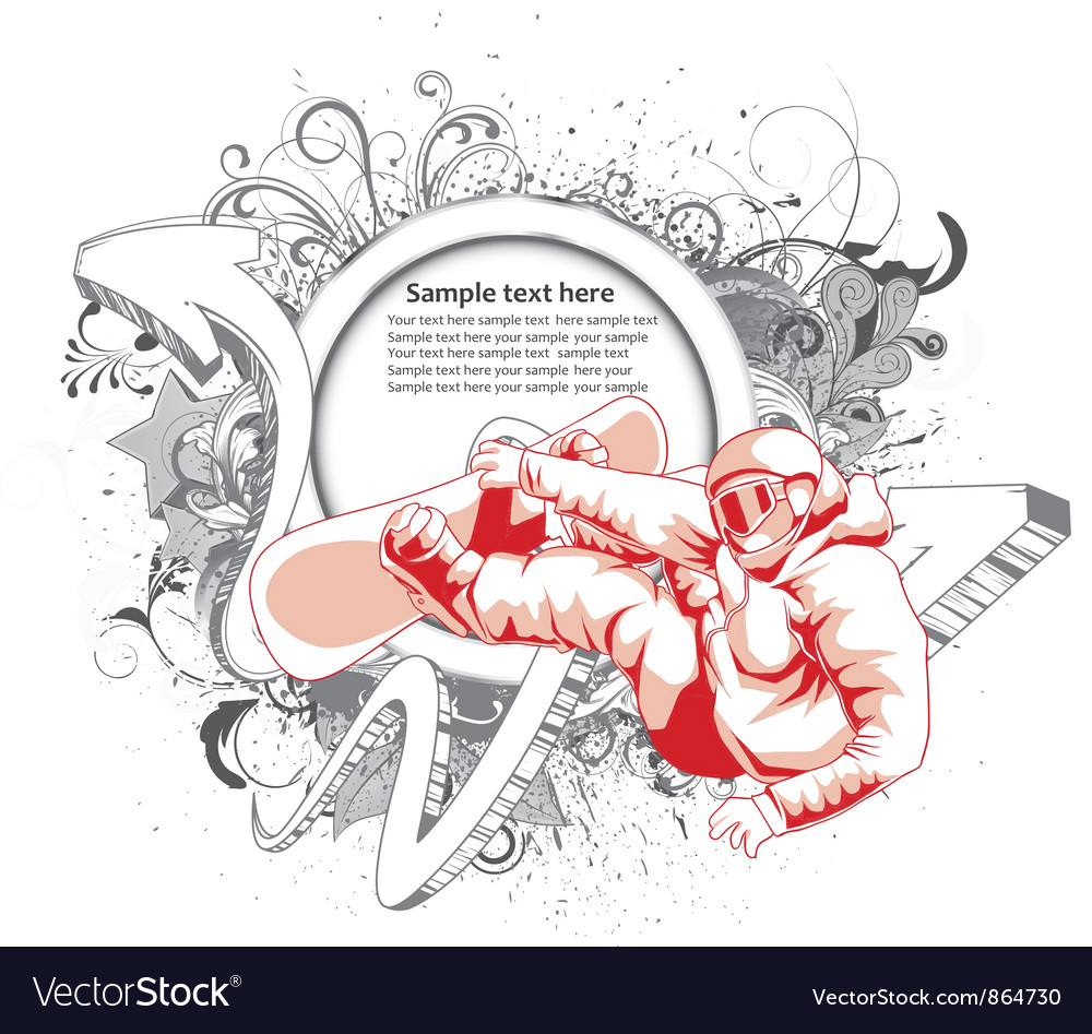 Grunge label with snowboarder Vector Image