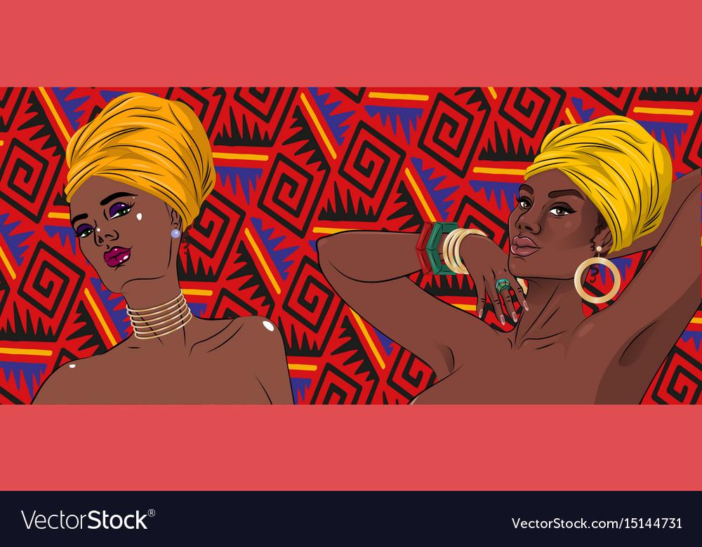 African american black beauty women portrait vector image